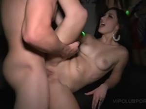 Dirty party chicks sharing horny shaft for a big load in the VIP room