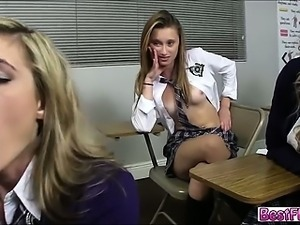 Busty and sexy teens in School Detention