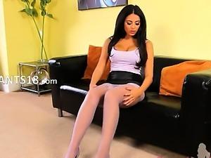 Brunette babysitter with beautiful strip