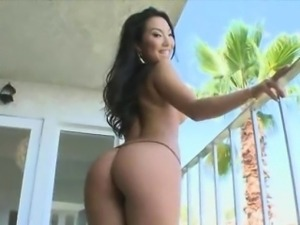 Big tit brunette asian gets fucked by a big cock