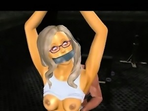 Sexy tied up 3D cartoon blonde babe gets fucked hard
