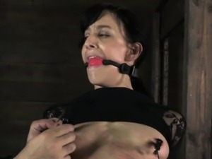 Nipple clamped ball gagged sub whipped