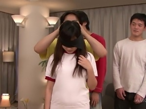 schoolgirl is blindfolded for pleasure