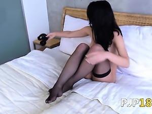 Brunette woman opening gaped snatch