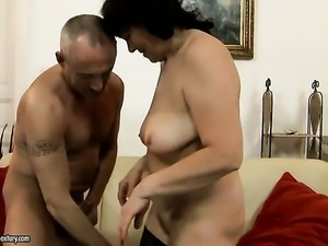 Helena May with giant hooters is good on her way to make horny dude ejaculate...