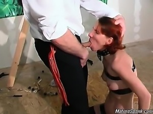 Nasty and horny blonde slut gets tied and kinky. She then