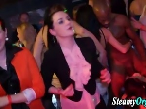 Amateur real teen sluts at hot cfnm interracial blowjob party