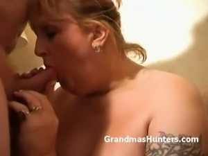 Blonde plumper sucks cock and provokes