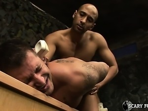 Sexy black Army Officer face fucks and barebacks a soldier