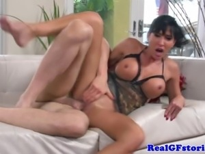 Real busty housewife riding cock and she cant get enough