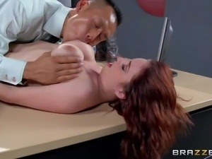 Redhead Ashley Graham is no good as a secretary at all. But she has nice big...