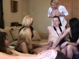 CFNM milfs tugging his hard cock