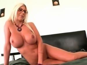 Sexy blonde milf gone crazy with dildo part1