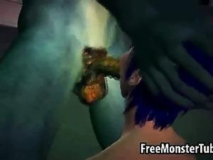 Blue haired 3D honey sucks and fucks a monster