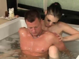 Naughty fetish masseuse sucks dick