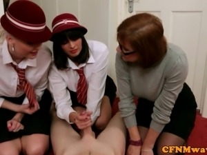 Three femdom cfnm sluts jerking dude off and they have fun doing it