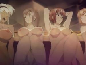 Horny hentai lezzy girls in the bath