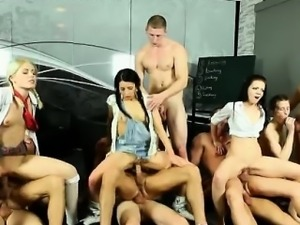 Sluts in orgy licked and fucked
