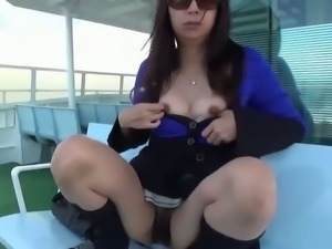 Japanese chick boat masturbation