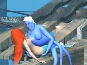 Hot 3D redhead Ariel getting fucked by Ursula