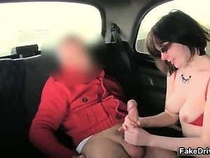 Nasty brunette is cheated by fake taxi part3