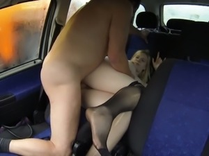 Pregnant whore fucked in a car