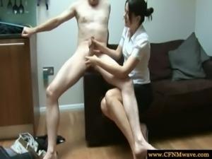 Cfnm babe gives guy a handjob free