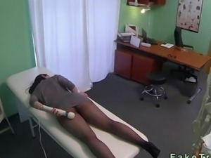 Redhead in pantyhose fucked by her doctor