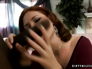 Mature Ginger Blaze makes dude happy by eating his throbbing snake