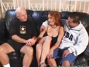 Swinger MILF Fucks While Hubby Watches