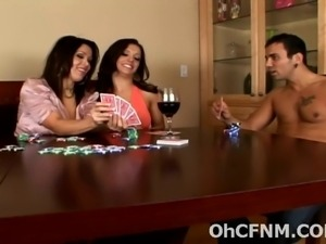 Strip poker with two very sexy bruntte babes loves ssucking huge swollen...