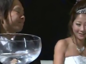 Japanese Wedding Girl got fuck with her husband friend.