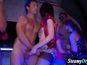 Clothed party teens jerk cock