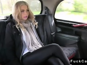 Blonde British babe fucked in fake taxi in fields