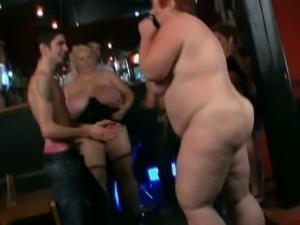 European old skanks strip in a club