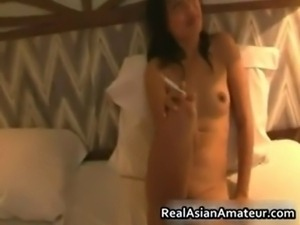 Tinny asian smoking and gets a big ride part5.