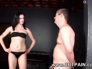 painful cbt femdom fetish play with sexy mistress and male submissive slave