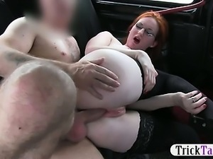 Hot redhead gal paid to flash her pussy then fucked hard