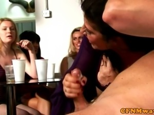 Mature femdom skank sucks dude off in front of her friends
