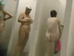 Multiple females taking a shower