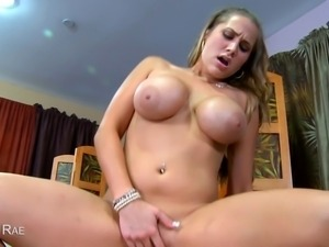 Alanah Rae lubes up a cock and sucks on it before getting fucked in this POV...