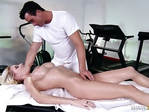 Riley Evans with huge breasts gets turned on then anal banged by Billy Glide