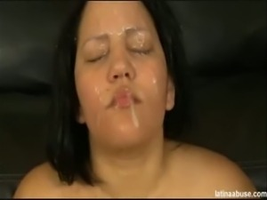 Naughty brunette gets her mouth and cunt banged