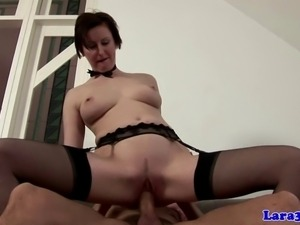 Classy stockings mature pounded on couch