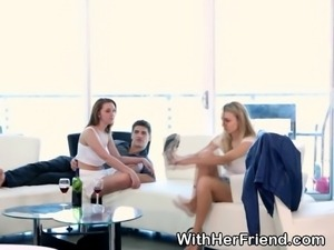 Pretty teen best friends giving one of their boyfriends a killer blowjob in a...