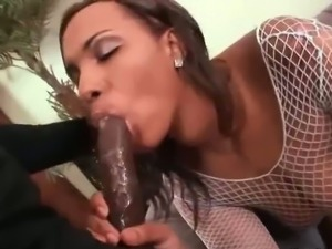 Black and fat bitch takes a big black cock