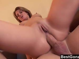 This hot blonde secretary just loves anal sex. She likes to ram her ass on a...