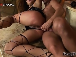 Brunette whore having intense and rough anal sex
