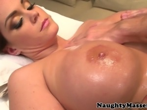 Busty Alison Tyler naked on masseurs table getting fingered and loving it