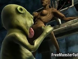 3D alien licks and fucks a sexy monster vixen